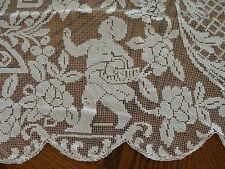 "FABULOUS Antique FIGURAL Lace Tablecloth 90"" CHERUBS Hand Made Filet PRISTINE"