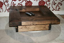 STUNNING RUSTIC  COFFEE TABLE, OAK WAX FINISH 900MMX 900MM X 280MM HIGH