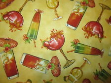 Martini Cocktail Long Island Wine Glass Yellow Cotton Fabric FQ