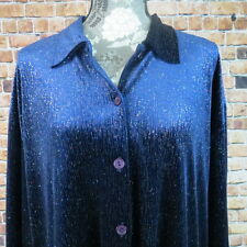 Impressions Blouse Size XL Button Down Shimmery Blue  / Multi Long Sleeve Party
