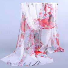 "Fashion Women's White Real 100% SILK LONG SCARF SHAWL STOLE WRAP ""Floral"""