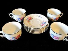 Set of 4 Vtg Hollohaza Hungary Cup Saucer High Relief Gold Gilded Floral Roses