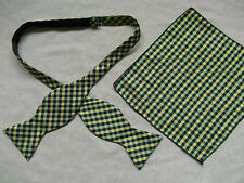 NEW MENS SELF TIE DICKIE BOW BLACK YELLOW CHECKED BOWTIE & TOP POCKET HANKIE