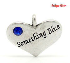 5 ANTIQUE SILVER SOMETHING~BLUE HEART CHARMS PENDANT~EMBELLISHMENTS~CHAINS (62D)