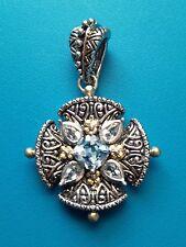 Barbara Bixby Topaz Maltese Cross Enhancer Pendant Sterling Silver 18K