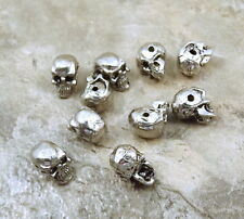 10 Pewter Beads -5.5mm SKULL with Horizontal Hole  - 5438