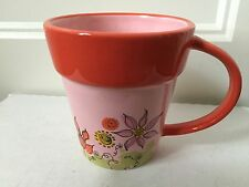 STARBUCKS Coffee Cup Mug Hand Painted Flower Pot 2006 10 OZ Pink Orange EUC