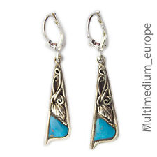 925 er Sterling Silber Ohrringe Türkis Blatt silver earrings turquoise leaves