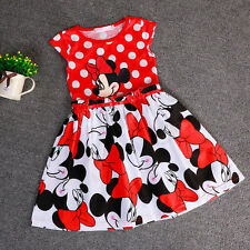 Summer Kids Girls Dress Minnie Red Polka Children Baby Cute Party Dresses 5-6Y