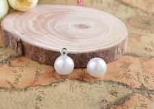 50PCS White Faux Pearl Button Charms Sewing Scrapbooking Craft #26510