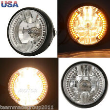 "7"" Amber LED Projector Halogen Blinker Turn Signal H4 35W Bulbs Angel Eye US"