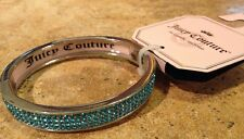 Juicy Couture Fashion Bangle Bracelet Silver tone blue inlay crystals new NWT