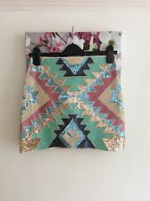 Sweewe Pink and Green Embellished Aztec Mini Skirt, Size 10 New RRP £120