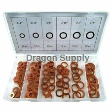New 110 pc Copper Washer Assortment Flat Ring Oil Brake Line Seal SEA