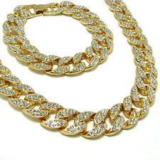"Gold Plated Rapper Full Iced Out Cuban  CZ 15mm 30"" Hip Hop Chain & Bracelet Set"