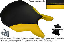 DESIGN 2 YELLOW & BLACK CUSTOM FITS DUCATI 999 749 RIDER LEATHER SEAT COVER
