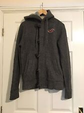 Hollister Grey Knitted Mens Coat Jacket Hooded size Medium