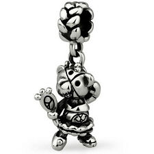 Teddy Scares Mazey Podge Genuine Solid Sterling Silver Charm OHM Bead AAR103