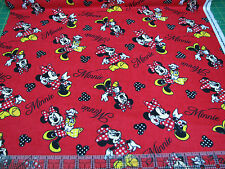 3 Yards Cotton Flannel Fabric - Springs Disney Minnie Mouse Loves Shopping Red