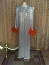 Drag Queen White/Gold stripped Long dress with orange feathers 16/18
