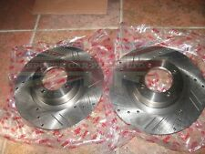 Pair New TRW Drilled and Slotted Brake Rotors for MGB 1963-1980 DF7232-3S
