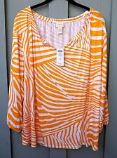 CHICO'S SIZE 3 DESERT ZEBRA PEARL PEASANT TOP 3/4 SLV CLEMENTINE NWT