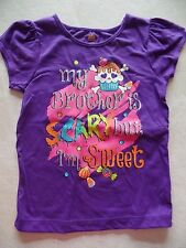 NEW girls HALLOWEEN T SHIRT brother is scary, i'm sweet CUPCAKE costume SIZE 4T
