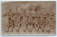 ANTIQUE Vintage WW1 GERMAN Real Photo RPPC Postcard SOLDIERS w/ ACCORDIAN PLAYER