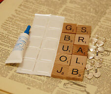 10 x DIY kit Scrabble tile resin stickers glue on bails with Glue jewellery kit