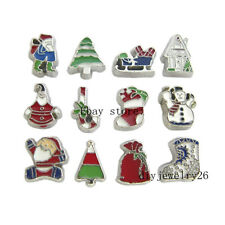 10pcs New mixed Christmas  Floating Charms Fits For  Living Memory Locket FC1107