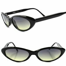 Classic True Vintage 50s 60s Green Lens Black Small Pointy Cat Eye Sunglasses