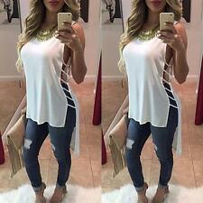 Womens Casual Chiffon Vest Top Sleeveless Blouse Tank Tops T-Shirt WH Y1