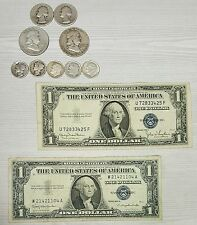 Silver Coins Lot $2. Face 90% Silver and TWO $1. Silver Certificates