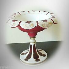 Moser Bohemia Czech vintage compote in red and white art glass