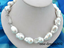 """18"""" 28mm baroque white Reborn Keshi pearl necklace"""