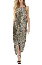 Topshop DISC SEQUIN GOLD MIDI SHEATH DRESS sz 2