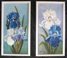 1970's Irises oil painting by Texas artist Templeton