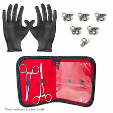 Dermal Body Piercing Kit - 2 Forceps w/11 Dermal CZ Tops and Bottoms + Gloves