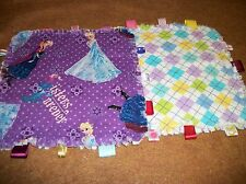 Frozen Rag Quilt Taggie Security Blanket, Baby Toddler Toy