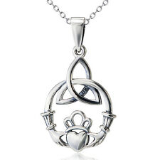 925 Sterling Silver Love Heart Triquetra Claddagh Hoop Crown Pendant Necklace