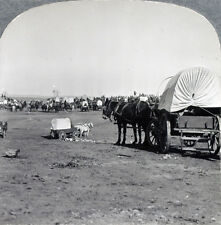 """1930 Keystone Stereoview of the Movie Set for RKO's Motion Picture """"Cimarron"""""""
