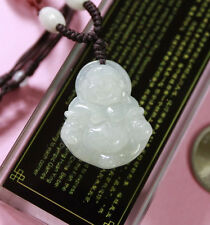 100% Natural (A) Untreated Icy Jade Jadeite Happy Laughing Buddha Pendant #J0015