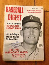 AUTOGRAPH BASEBALL DIGEST JULY 1961 WALLY MOON SIGNED