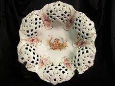Antique C. Tielsch German Latticed China Bowl Gold Flowers Cherubs 1875--1900