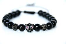 Kristall Leopard Charm Power Armband verstellbar schwarzer Onyx Beads Bracelet