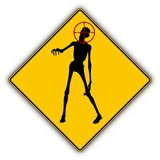 "Zombie Hunting Warning Sign Car Bumper Sticker Decal 5"" x 5"""