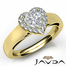 Heart Shape Diamond Halo Pave Engagement Ring GIA G VVS2 18k Yellow Gold 0.70Ct