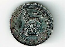 GREAT BRITAIN 1920 6 PENCE SIXPENCE GEORGE V SILVER COIN HIGH GRADE TONED
