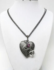 Large Floral Antique Silver Plated  Vintage Heart Locket Necklace
