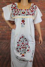 Large White Peasant Tunic Boho Hippie Hand Embroidered Mexican Dress Tunic